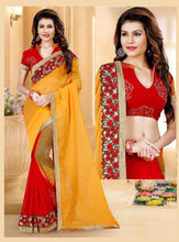 Red & Yellow Colour 2 in1 Weightless Sagar Saree