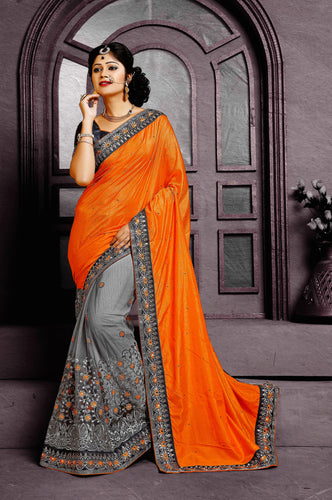 Bright Orange & Gray Shivay Silk Designer Saree