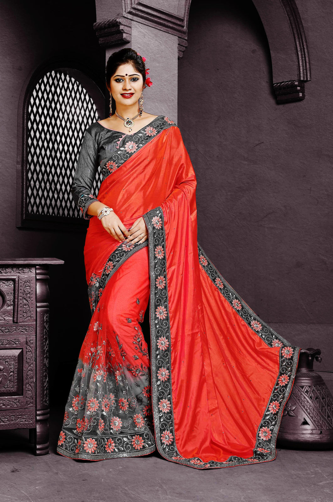 Bright Coral & Gray Shivay Silk Designer Saree