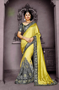 Bright Lime & Gray Shivay Silk Designer Saree