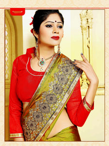 Bright Olive Green & Red Shivay Silk Designer Saree