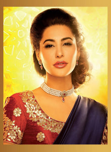 Nargis Fakhri  Fancy Designer Satin Chiffon Saree