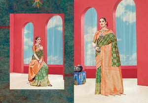 Green & Red Pure Silk Saree