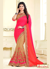 Magenta & Beige Designer Saree With Fancy Blouse Piece