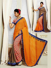 Brown & Orange Colour 2 in1 Khwaish Saree