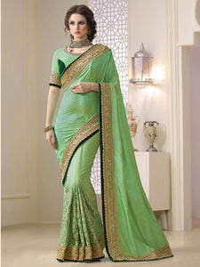 Eye Catching Parrot Green Zoya Silk Designer Saree