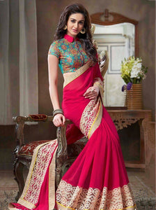 Stunning Magenta colour Georgette Saree