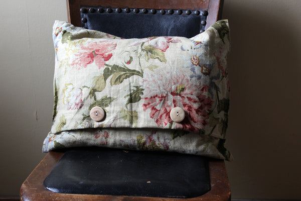 Beige Flower Pillow with Buttons