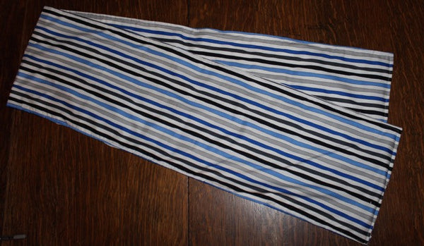 Blue, Grey and White Striped Runner