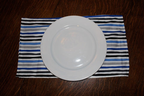 Blue, Grey and White Striped Placemats