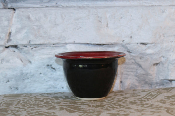 Raspberry and Brown Pottery Bowl