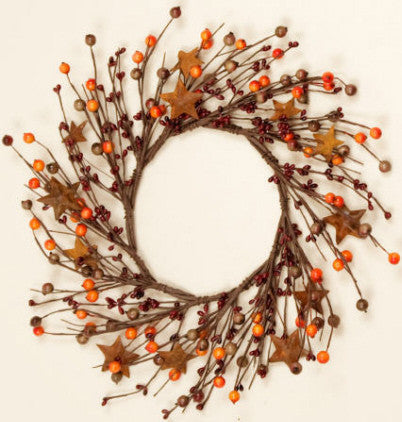Burgundy & Orange Berries with Rusty Stars Wreath