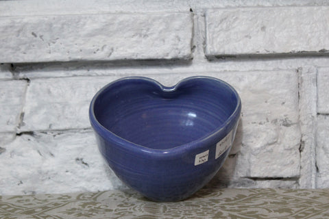 Blue Heart Shaped Pottery Bowl
