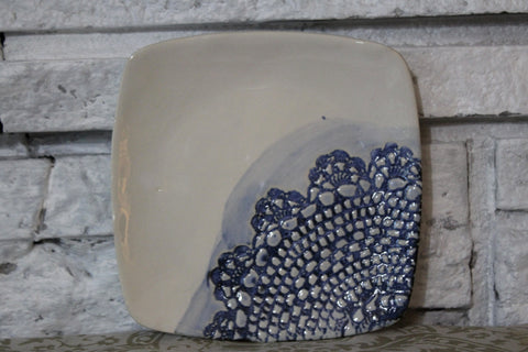 Blue Lace Trimmed Pottery Plate