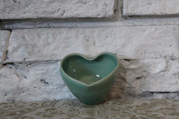 Green Heart Shaped Pottery Bowl