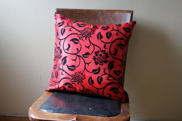 Blossom Red Satin Pillow