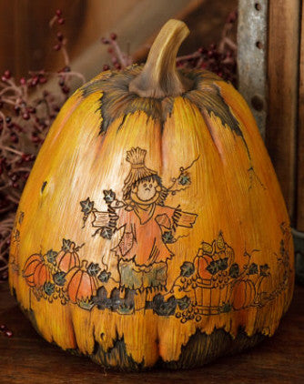 Carved Pumpkin - Scarecrow Resin