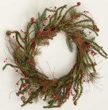 Wreath - Burlap Bows, Pinecone