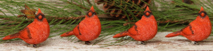Resin Bird Clips Ornament - Cardinals Set of 4