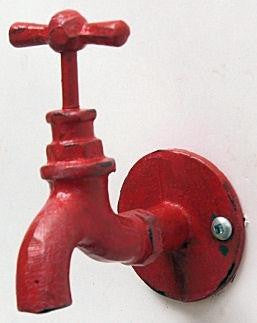 Cast Iron Red Faucet Wall Hook