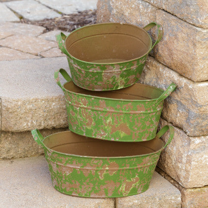 Vintage Style Green Oval Tubs