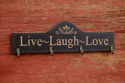 Live, Love, Laugh Wooden Plaque with hooks