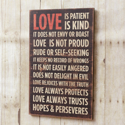 Love is patient wooden sign