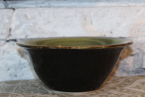 Avocado Green and Brown Pottery Bowl