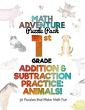 1st Grade Addition and Subtraction Practice A - Animals! (30 Puzzles)