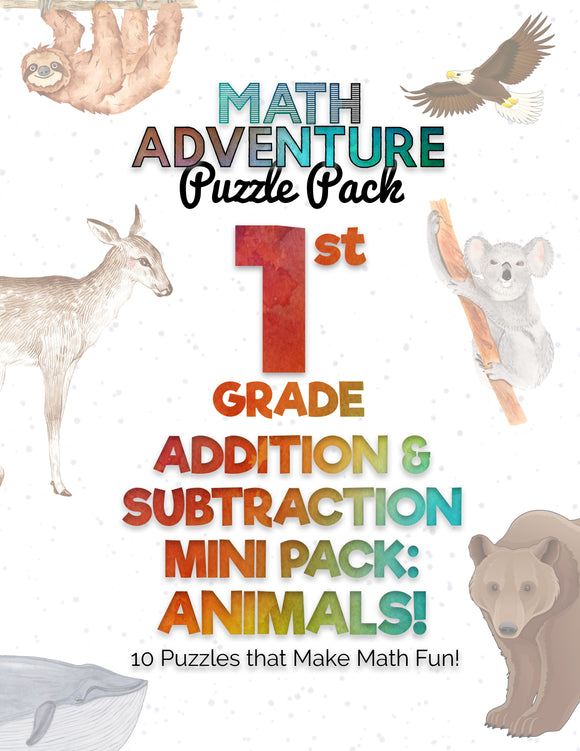 1st Grade Addition & Subtraction Mini Pack A - Animals!