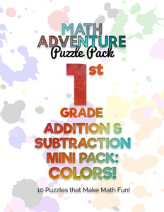 1st Grade Addition & Subtraction Mini Pack A - Colors!