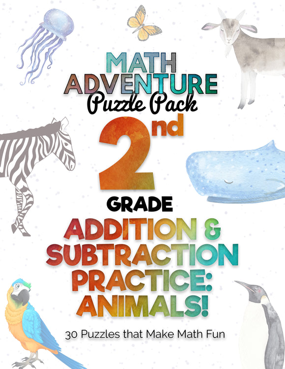 2nd Grade Addition and Subtraction Practice A - Animals! (30 Puzzles)