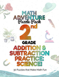 2nd Grade Addition and Subtraction Practice B - Science! (30 Puzzles)