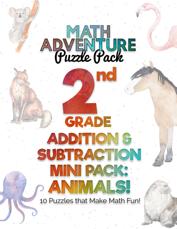 2nd Grade Addition & Subtraction Mini Pack A - Animals!