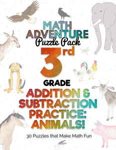 3rd Grade Addition and Subtraction Practice A - Animals! (30 Puzzles)