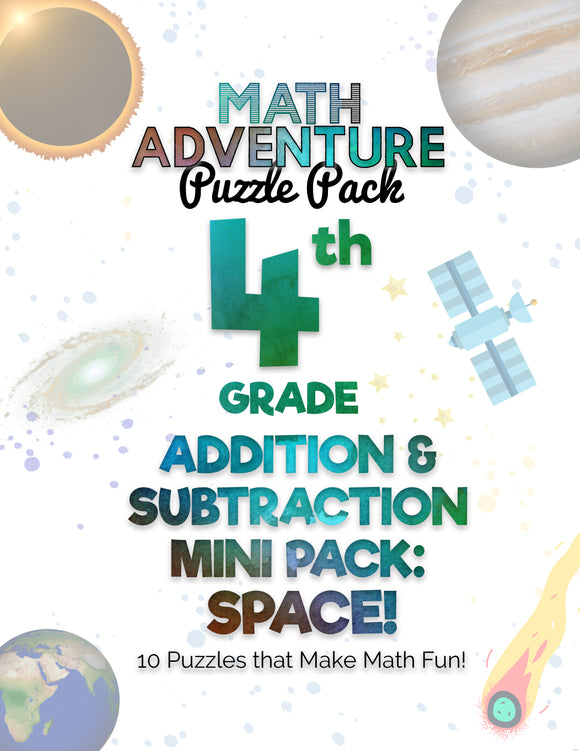 4th Grade Addition and Subtraction Mini Pack A - Space! (10 Puzzles)