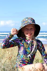 Kid's Wide Brimmed Bucket Hat - Midnight Garden