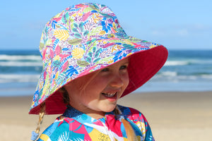 Kid's Wide Brimmed Bucket Hat - Midday Garden