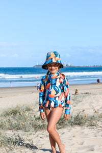 Kid's Wide Brimmed Bucket Hat - Exotic Floral