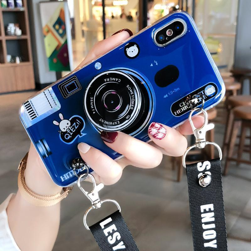 2018 New Fashion Airbag Stand Camera Lanyard Mobile Phone Case - RAPBLUE