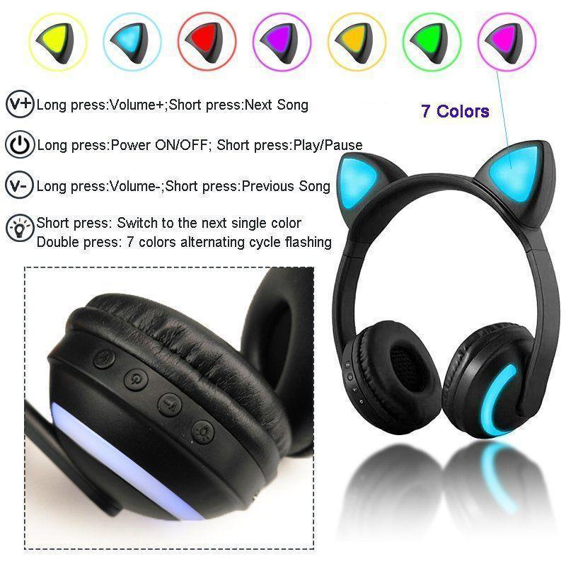 Cat ear headphones led gaming headset - RAPBLUE