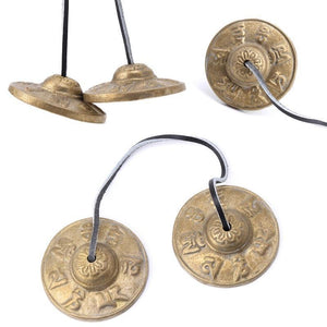 Handcrafted Tibetan Meditation Tingsha Cymbal Bell with Buddhist Lucky Symbols - RAPBLUE