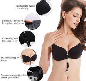 Backless Sticky Bra - Strapless Push Up Self Adhesive Invisible Perfect Sculpt Stick On Bras for Women - RAPBLUE