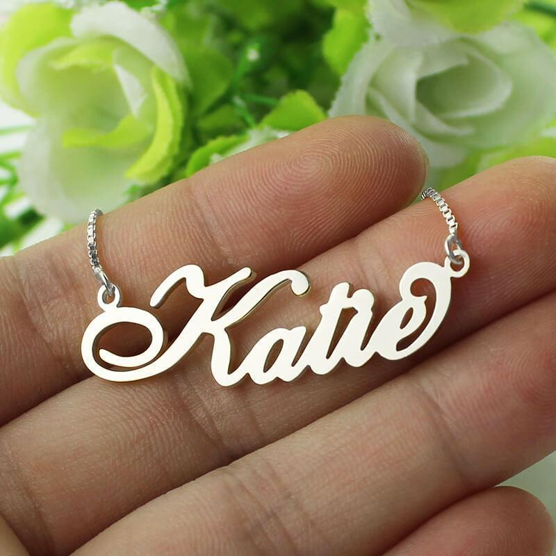 Custom Made Carrie Style Name Necklace in Silver Fashion Jewelry - RAPBLUE