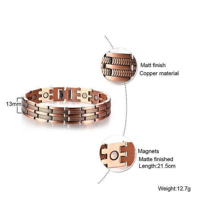 "Men's Elegant Pure Copper Magnetic Therapy Link Bracelet Pain Relief For Arthritis And Carpal Tunnel Jewelry 8.46"" - RAPBLUE"