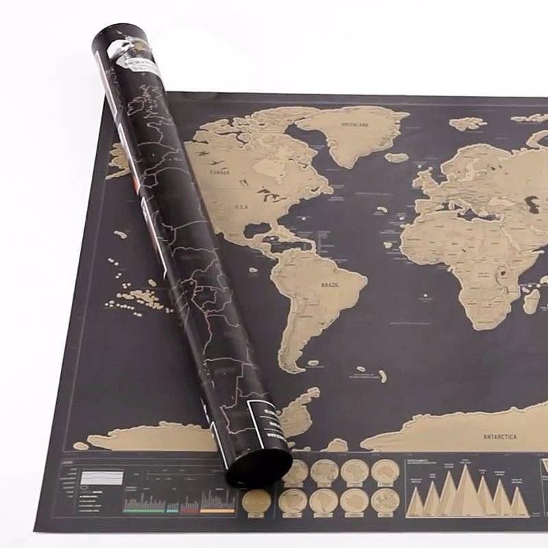 Deluxe Black Scratch Off World Map - RAPBLUE