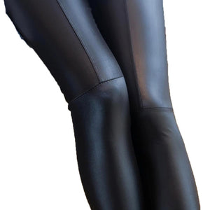 Women Faux Leather Tights Stretchy Skinny Joint Leggings Pants - RAPBLUE