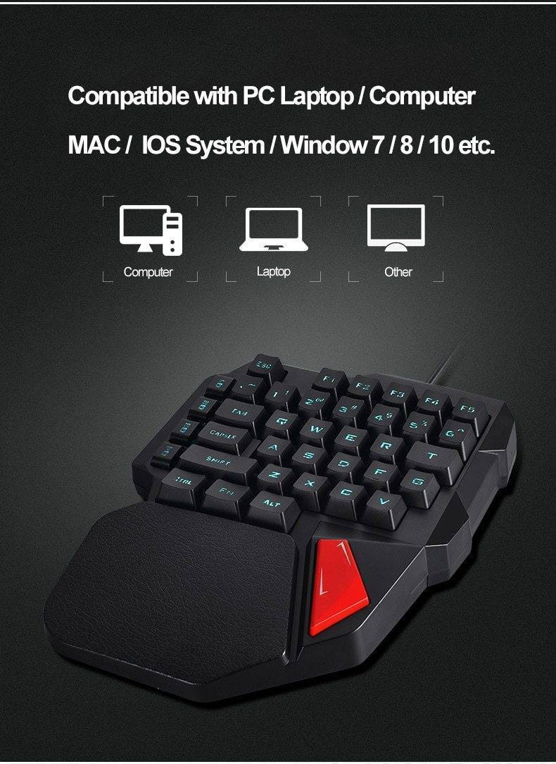 Professional Single Hand USB Wired Back-lit Gaming Keyboard - RAPBLUE