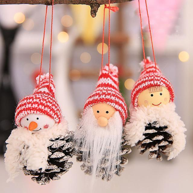 Christmas Hanging Ornaments Pine Cone Xmas Doll - RAPBLUE