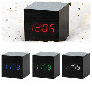LED Wooden Digital Alarm Clock Watch - RAPBLUE